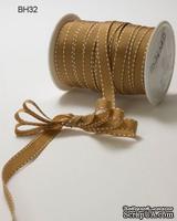 Лента GGRAIN/STITCHED EDGE, цвет ANTIQUE GOLD/WHITE, ширина 9,5мм, длина 90см
