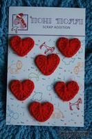 Вязаные украшения от Pony Polly - Сердечки, 6 шт.,  размер упаковки 7,5х11 см