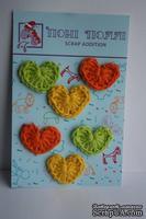 Вязаные украшения от Pony Polly - Сердечки, 6 шт., оранжевые, желтые, салатовые, размер упаковки 7,5х11 см