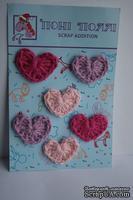 Вязаные украшения от Pony Polly - Сердечки, 6 шт., фуксия, розовые, сиреневые, размер упаковки 7,5х11 см