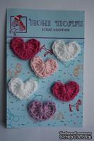 Вязаные украшения от Pony Polly - Сердечки, 6 шт., белые, розовые, сиреневое, размер упаковки 7,5х11 см