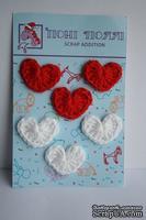 Вязаные украшения от Pony Polly - Сердечки, 6 шт., красные и белые, размер упаковки 7,5х11 см