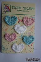 Вязаные украшения от Pony Polly - Сердечки, 6 шт., розовые, голубые и белые, размер упаковки 7,5х11 см