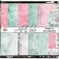 Набор бумаги 13arts - All is Love, 30х30 см, с наклейками