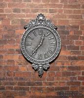 Гипсовые часы под серебро с мерцанием, от Е.В.А. 7x4,5 см