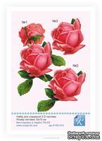 Набор №14 для создания 3D-открытки от Евгения Курдибановская ТМ,- Розы 15х20см