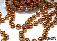 Новогодняя цепочка из бусин, размер 6мм, длина 90см, цвет темное золото
