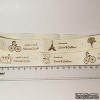 Лента от Thailand - Natural Style Bicycle Eiffel Tower Tree Sewing Machine Girl Print Cotton Ribbon Label String, 1 метр