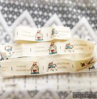 Лента от Thailand -  Lovely Girl Ridding Horse Print Cotton Ribbon Label String, 1 метр