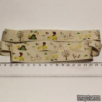 Лента от Thailand - Lovely Girl Dog Ducks Print Linen Ribbon Label String, 1 метр