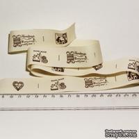 Лента от Thailand - Love Heart Pattern Print Cotton Ribbon Label String, 1 метр
