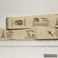 Лента от Thailand - Lovely Girl Eiffel Tower Key Camera Print Cotton Ribbon Label String, 1 метр