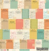 Лист двусторонней скрапбумаги от October Afternoon - Due Date Paper - Public Library, 30x30 см