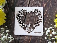 Чипборд рамка сердечная с цветами от WOODchic, 9х9 см