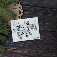 Чипборд подвеска рождественские носки от WOODchic, 11х8,5 см