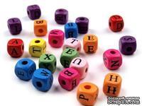 Бусины кубики с буквами цветные, 22 шт.