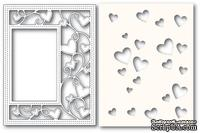 Нож и маска  от Poppystamps - Ribbon Heart Sidekick Frame and Stencil - ScrapUA.com