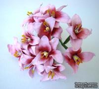Лилия, диаметр 3 см, цвет розовый, 10 шт.