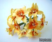 Лилия, диаметр 3 см, цвет желтый, 10 шт.