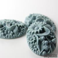 """Кабошон """"Цветок"""", цвет серый, размер 41x32 мм, 1шт."""