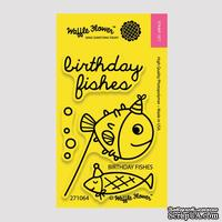 Силиконовый штамп от Waffle Flower - Birthday Fishes, 5x7,6 см