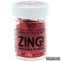 Пудра для эмбоссинга c глиттером, красная, RED Glitter Embossing Powder 1oz