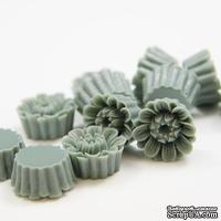 """Кабошон """"Цветок"""", цвет серый, размер 14 мм, 1шт."""