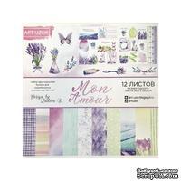 Набор бумаги для скрапбукинга от АртУзор - Mon Amour, 12 листов, 30,5 х 30,5 см, 180 г/м