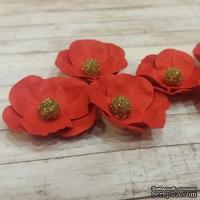 Набор бумажных цветов от Scrap Klumba, красные, 6 шт., диаметр 2,8 см - ScrapUA.com