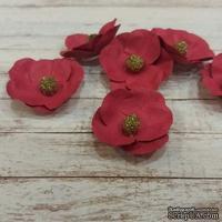 Набор бумажных цветов от Scrap Klumba, вишневые , 6 шт., диаметр 2,8 см