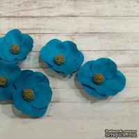 Набор бумажных цветов от Scrap Klumba, голубые, 6 шт., диаметр 2,8 см - ScrapUA.com