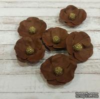 Набор бумажных цветов от Scrap Klumba, коричневые, 6 шт., диаметр 2,8 см