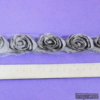 Лента с розочками,  цвет: серо-коричневый, ширина 3,5-5,5см, 30 см