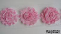 Лента с волнистыми розами, цвет: розовый, ширина 80 мм, 30 см