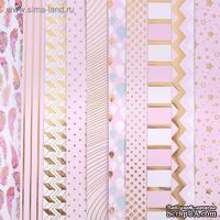 Набор бумаги для скрапбукинга с фольгированием микс от АртУзор - «Розовые облака», 10 листов 30,5 х 30,5 см, 200 г/м.