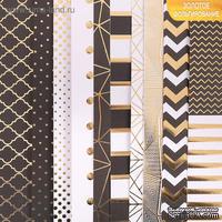 Набор бумаги для скрапбукинга с фольгированиеммикс от АртУзор - «Магический черный», 10 листов 30,5 х 30,5 см, 180 г/м.