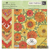 "Набор бумаги от K&Company - ""Сад"", размер: 31х31 см, 12 листов"