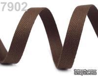 Саржевая лента, ширина 10мм, цвет коричневый темный, 90см