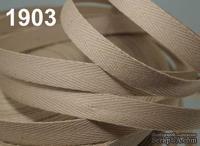 Саржевая лента, ширина 10мм, цвет бежевый какао, 90см