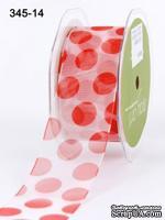 Лента Sheer/Jumbo Dot - Red, цвет: красный, ширина 3,8 см, 90 см
