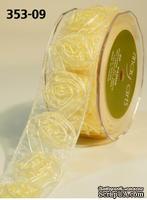 Лента от May Arts -  Sheer / Woven Rosette Ribbon, 3,8 см, цвет желтый, длина 90 см