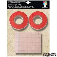 Двусторонняя объемная лента и квадратики, красная