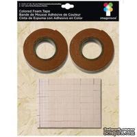 Двусторонняя объемная лента и квадратики,коричневая