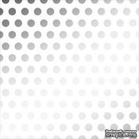 Лист веллума в серебристый горох от American Crafts - Silver Foil Dots, 30х30 см