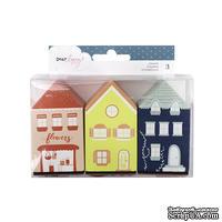 Набор резиновых штампов от American Crafts в форме домиков - Lovely Day Collection - Wood House Stamp Set