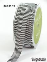 Лента Twill and Stripes, цвет черный/белый, ширина 1,9 см, длина 90 см