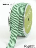 Лента Twill and Stripes, цвет зеленый/белый, ширина 1,9 см, длина 90 см
