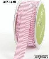 Лента Twill and Stripes, MAUVE, цвет розовый/белый, ширина 1,9 см, длина 90 см