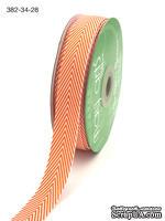 Лента Twill and Stripes, цвет оранжевый/белый, ширина 1,9 см, длина 90 см - ScrapUA.com