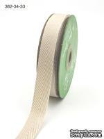 Лента Twill and Stripes, цвет светло-коричневый/белый, ширина 1,9 см, длина 90 см
